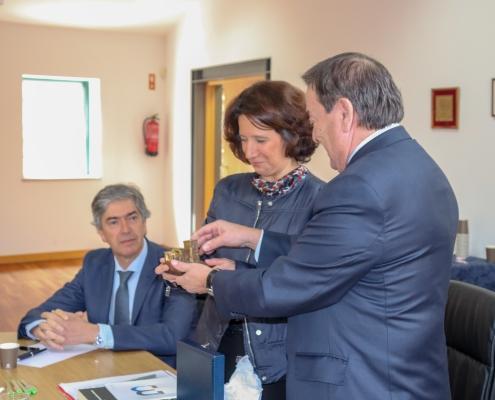 O Presidente do Turismo Centro de Portugal, Dr. Pedro Machado, a Senhora Secretária de Estado do Turismo, Eng. Rita Marques e o Presidente da Câmara Municipal de Belmonte, Dr. António Rocha